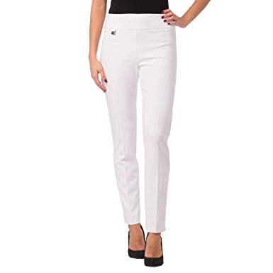 Must Have Tab Pant with Fitted Waist and Skinny Cut Leg White