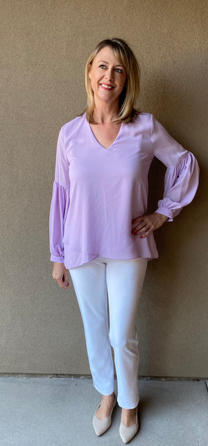 LILAC BELL SLEEVE TOP