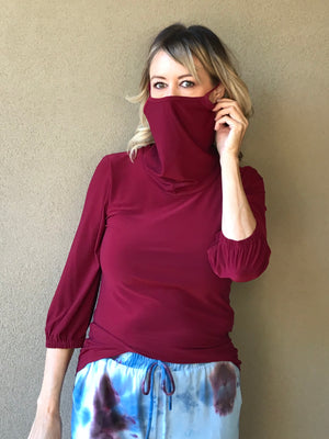 BURGUNDY 3/4 TOP W ATTACHED MASK