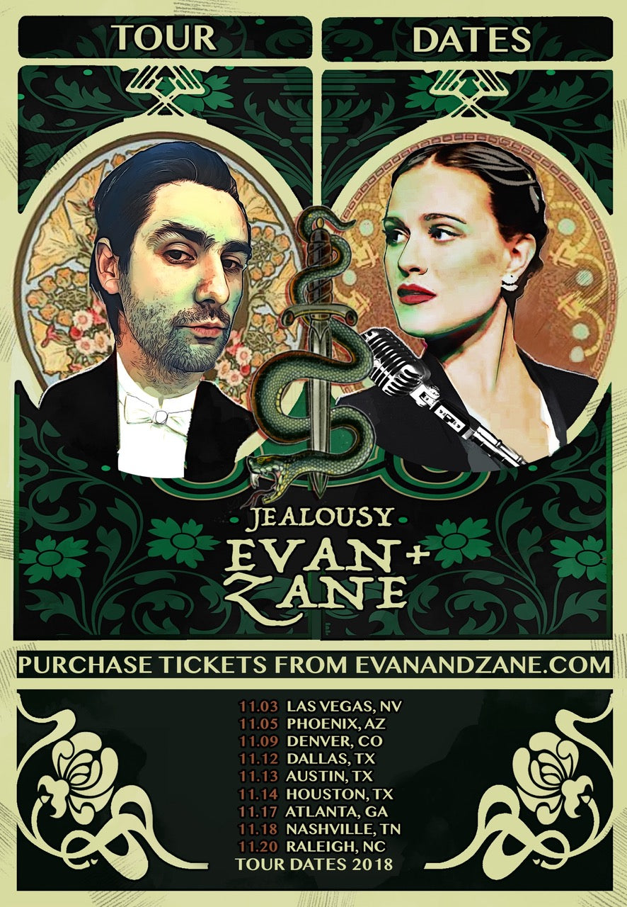 EVAN+ZANE: Jealousy | Fall 2018 Tour Poster | PERSONALLY AUTOGRAPHED by Evan Rachel Wood + Zane Carney (Only 50 Available)