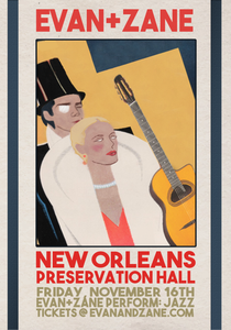 EVAN+ZANE: Jazz | New Orleans, LA | November 16th, 2018 | PERSONALLY AUTOGRAPHED by Evan Rachel Wood + Zane Carney (Only 50 Available)