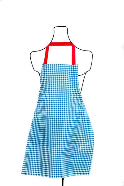 gingham blue apron checks