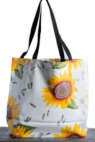 sunflower oilcloth totebag oil cloth tote bag