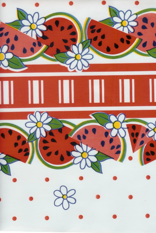 reunion watermelon daisy polka dot red green oil cloth oilcloth tablecloth