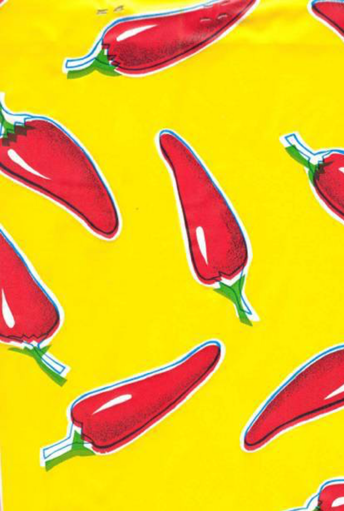Red Chiles on Yellow Background