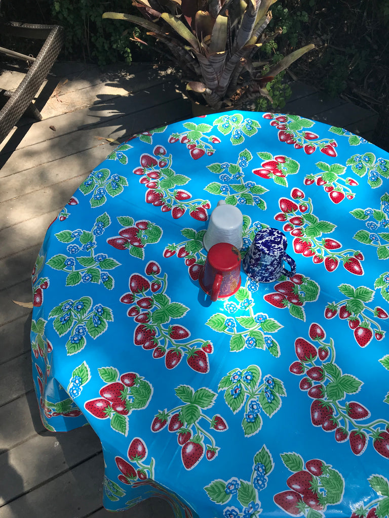 "Forever Blue 68"" Round Tablecloth"