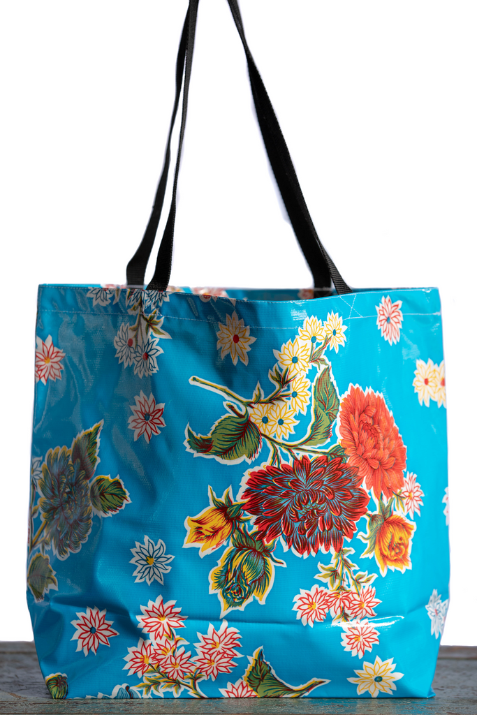 Mums Light Blue Large Tote