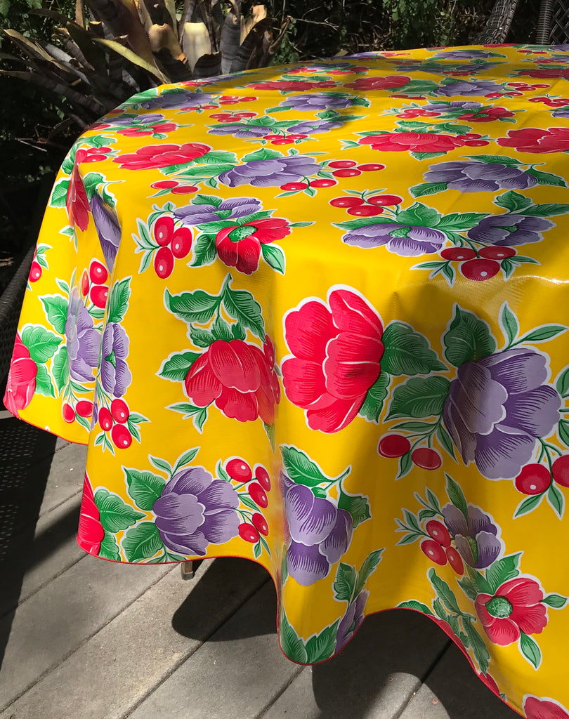 "Poppy Yellow 68"" Round Tablecloth"