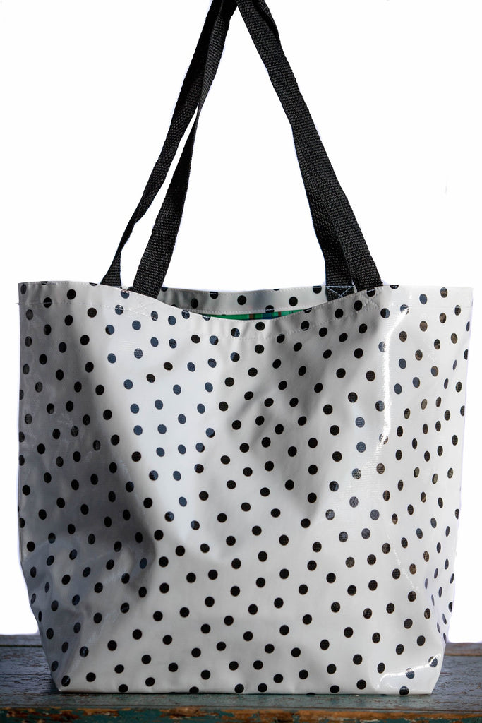 Polka Dot Black Large Tote