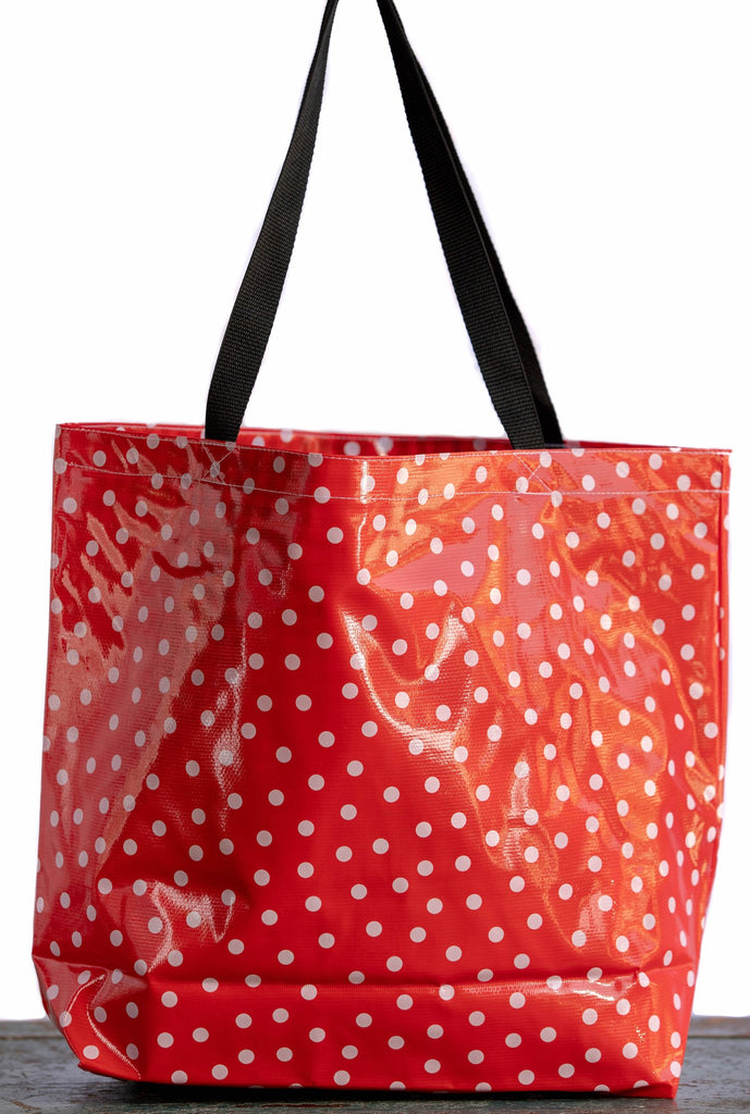Polka Dot White on Red Large Tote