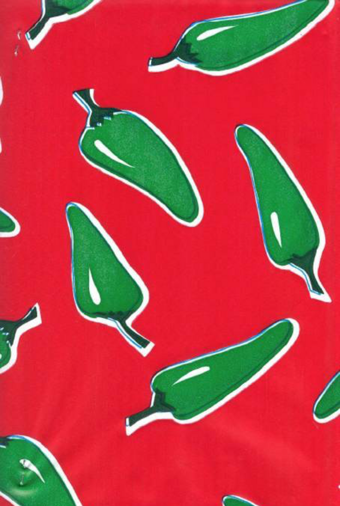 Green Chiles on Red Background