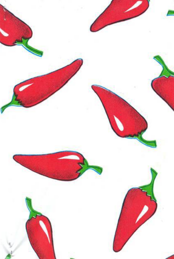 Red Chiles on White Background
