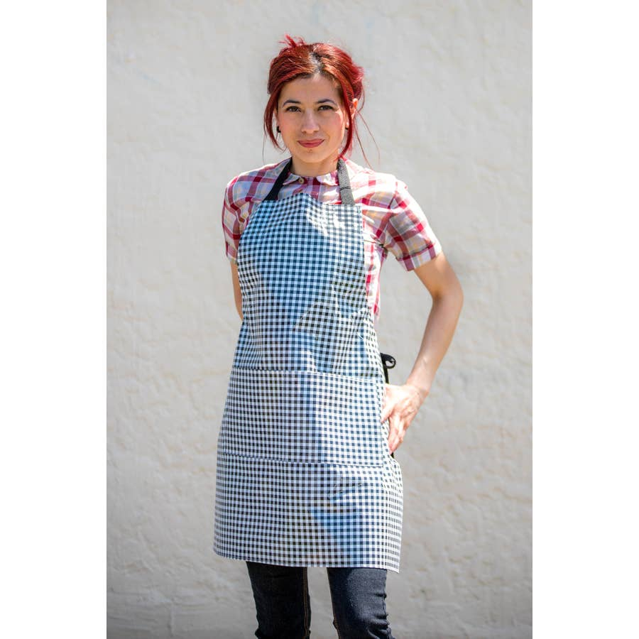 Gingham Black Apron