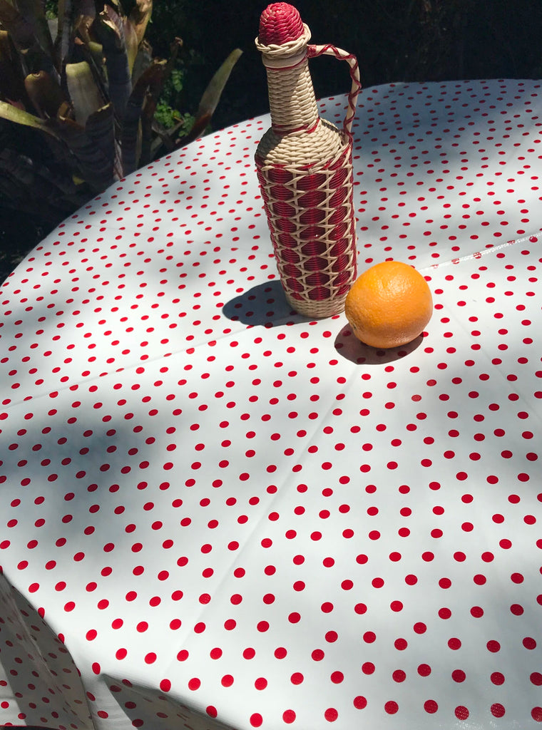 polka dot red tablecloth