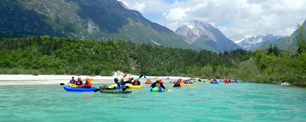 2018 European Packrafting Meet up. Group paddle of the Soca River