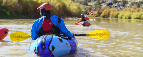 Alpacka Wolverine, VE paddle, Astral PFD. Paddling Colorado River.