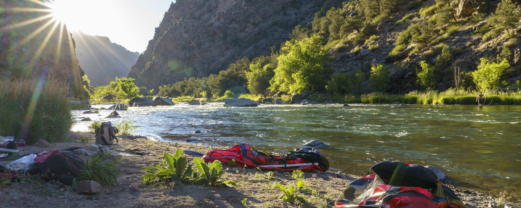 Gunnison River Bank with packraft Sunset Fly Fishing