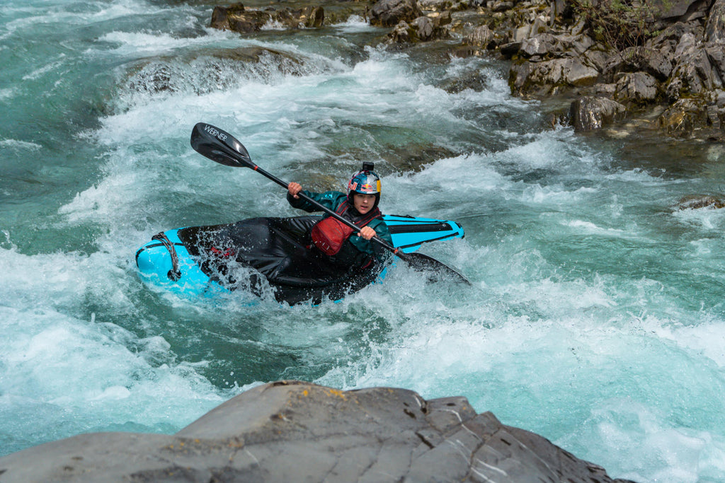 Nouria Newman paddling the Alpacka Valkyrie