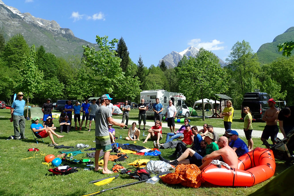 Packraft paddling safety equipment presentation. Seon at the 2018 European Packrafting Meet up.
