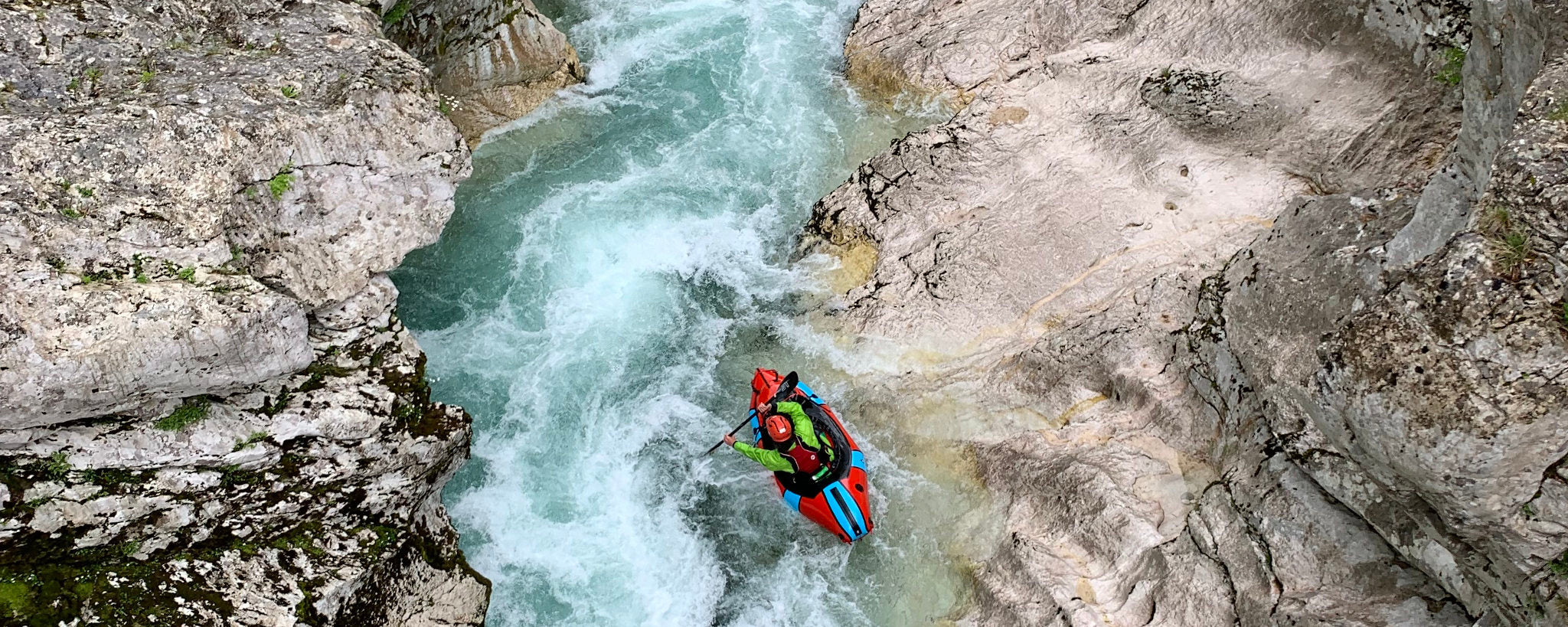 Packraft Europe Founder Paddling Upper Soca Canyon