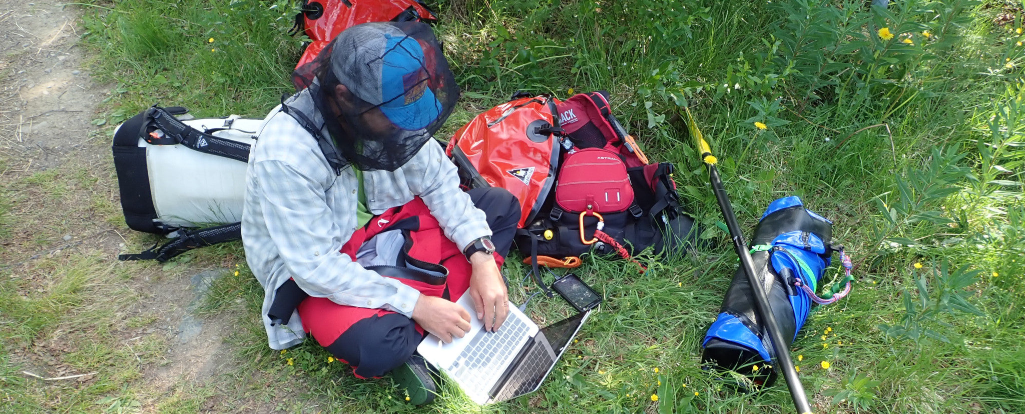 Riverside emails while packrafting in Finland