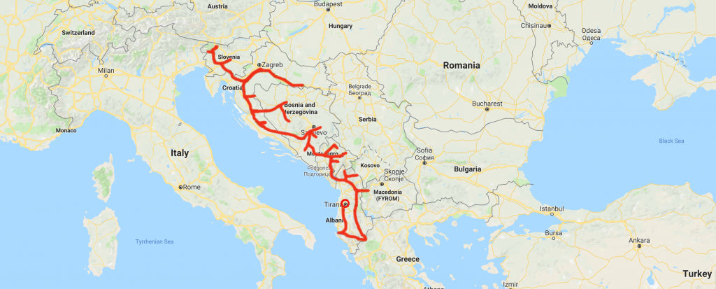 Rok first Balkan River Tour drawn with a red line on a map