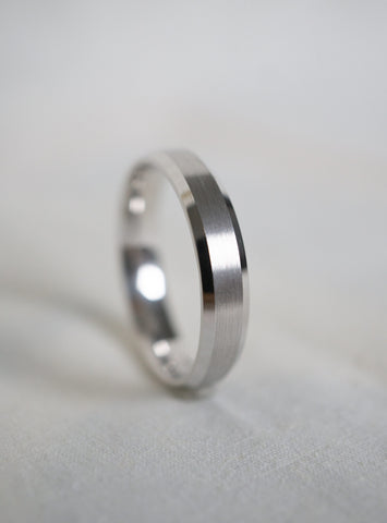 4mm Satin Beveled Edge Wedding Band *Made-to-Order