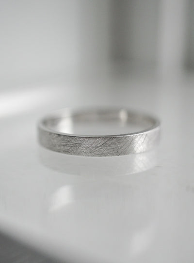 Textured Flat Wedding Band