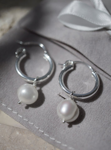 Francis Pearl Hoops - Silver *Made-to-Order