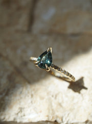 Forêt Ring - 1.02 ct Teal Green Pear Sapphire Engagement Ring *Ready-to-Ship