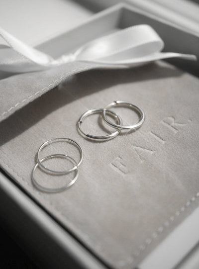 Medium Hoops - Solid 10K White Gold