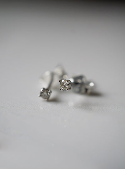 Champagne Diamond White Gold Studs *Made-to-Order