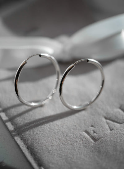 Large Hoops - 10K White Gold