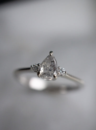 Cherish Ring 0.52ct Pear Salt & Pepper Diamond *Ready-to-ship