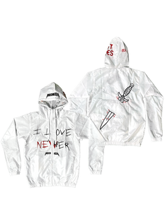 I Love Nevher white spring jacket