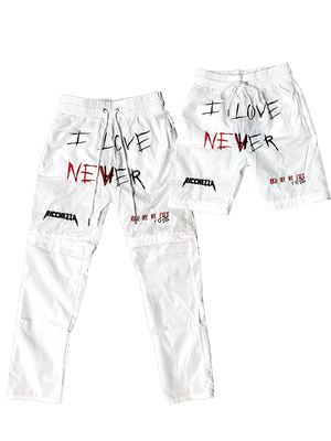 I Love Nevher white 2in1 Pants/Shorts