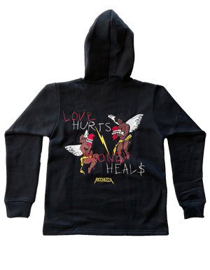 Love hurts Money heals hoodie (Black)
