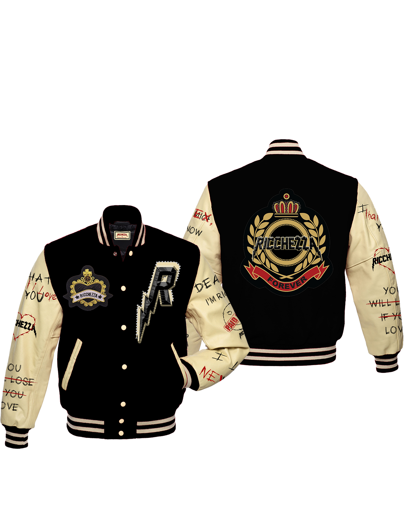Ricchezza Royalties & Wealth LuvLetter Varsity Jacket