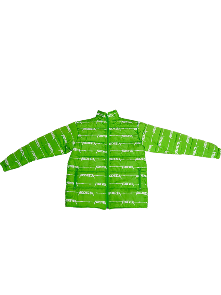 ⚡︎RICCHEZZA Forever⚡︎ Slime Green Wired Puffer Coat