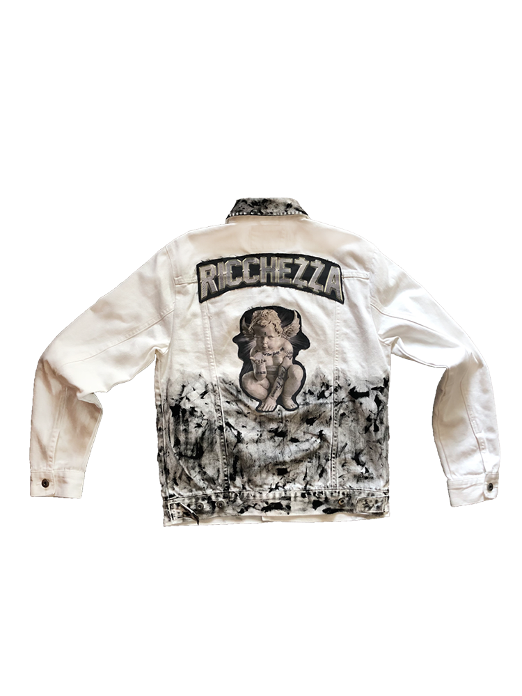 White Chezza Thrashed Denim Jacket