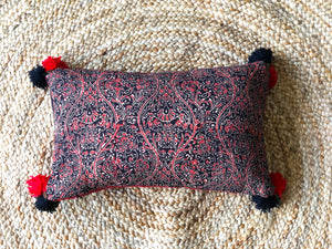 Scarlet + Charcoal lumbar cushion cover