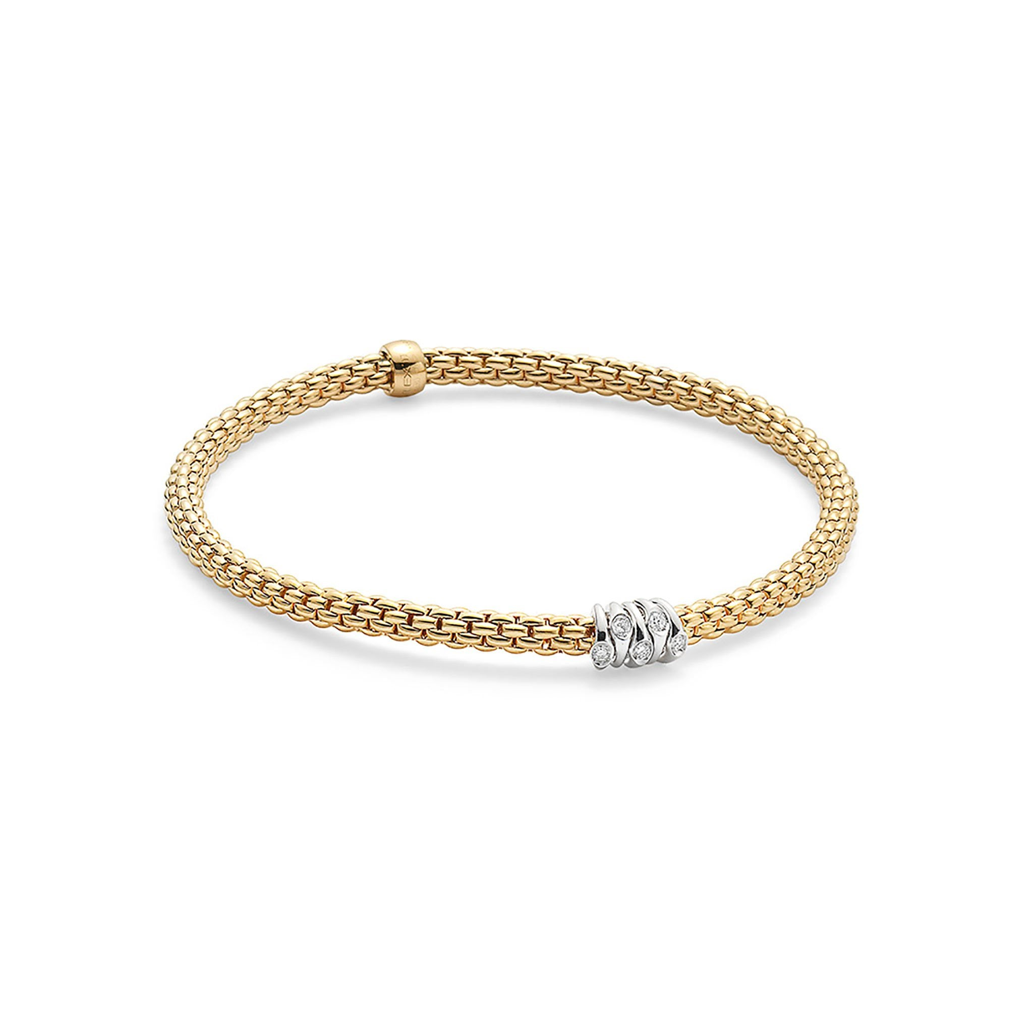 Fope Flex'it Yellow Gold with 0.07 Diamond Bracelet