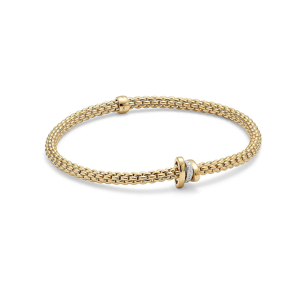 Fope Flex'it Yellow Gold with 0.10 Diamond Bracelet