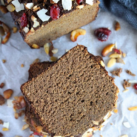 Banana bread with coconut and cranberries