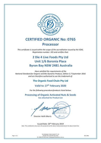 Organic Certification For Nut Activation Factory Byron Bay