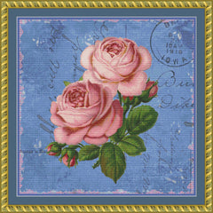 Shabby Roses on Blue PDF PATTERN