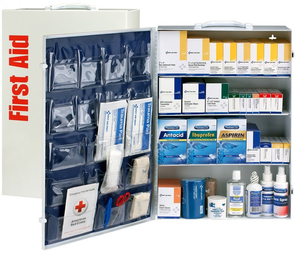 150 Person 4 Shelf First Aid Metal Cabinet, ANSI B+, Type I & II With Medication