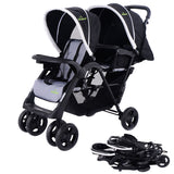 Foldable Twin Baby Double Stroller Kids Jogger Travel Infant Stroller Brown