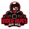 Logo Having Skeleton Wearing Red mask Riding Bike having red Color Outline