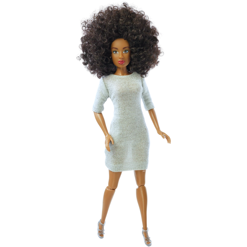 Natural Curly Hair Fashion Doll MIA Shimmer Dress The Fresh Dolls™